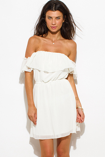 $20 - Cute cheap floral chiffon boho dress - ivory white chiffon off shoulder ruffle tiered boho mini sun dress