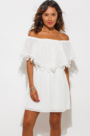 $10 - Cute cheap strapless boho mini dress - ivory white chiffon ruffle off shoulder crochet trim boho mini sun dress
