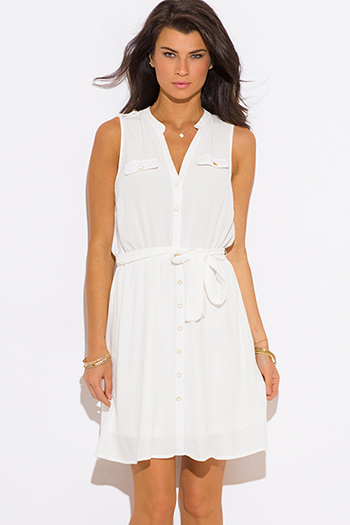 $15 - Cute cheap chiffon dress - ivory white chiffon sashed sleeveless shirt dress