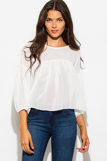 $15 - Cute cheap ivory white chiffon shirred quarter length blouson sleeve boho blouse top