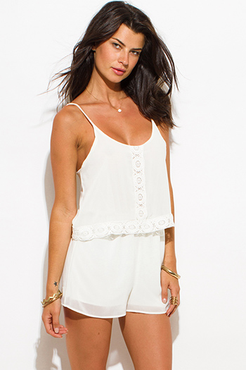 $15 - Cute cheap jumpsuit women.html - ivory white chiffon tiered crochet trim spaghetti strap open back boho romper jumpsuit