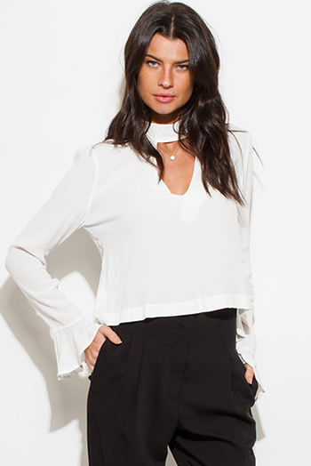 $15 - Cute cheap crepe top - ivory white choker mock neck cut out long bell sleeve boho blouse top