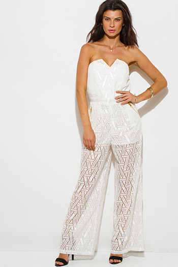 $20 - Cute cheap white sheer lace faux wrap halter backless catsuit jumpsuit - ivory white cotton crochet lace strapless pocketed wide leg evening sexy party jumpsuit
