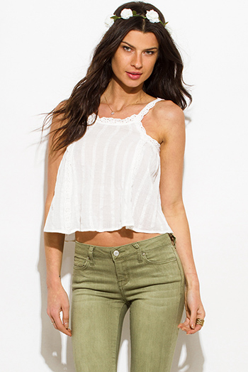 $10 - Cute cheap lace sheer sexy club top - ivory white cotton gauze crochet lace trim boho crop summer tank top