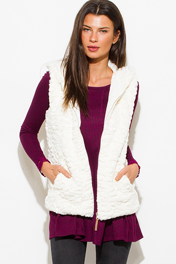 $25 - Cute cheap gray vest - ivory white cream faux fur textured hooded pocketed zip up vest