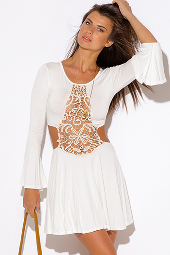 $10 - Cute cheap ivory white crochet cut out backless bell sleeve beach cover up boho mini sun dress