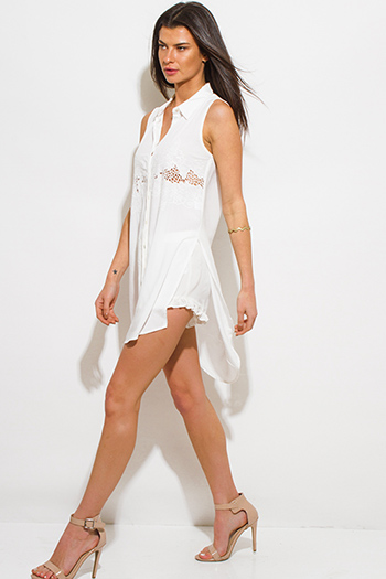 $15 - Cute cheap white ruffle blouse - ivory white crochet embroidered sleeveless side slit boho tunic blouse top