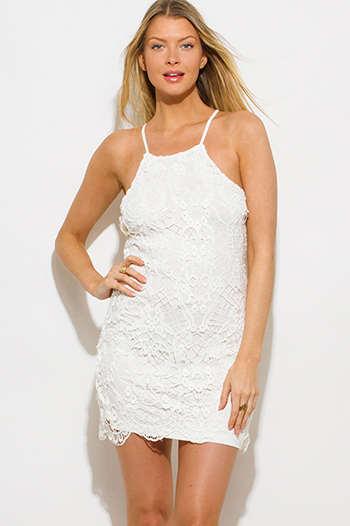 $15 - Cute cheap satin pencil mini dress - ivory white crochet lace halter racer back bodycon fitted pencil shift mini dress