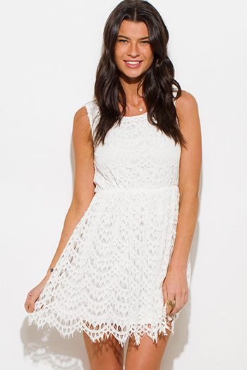 $15 - Cute cheap print boho crochet dress - ivory white crochet lace overlay a line sleeveless boho mini sun dress