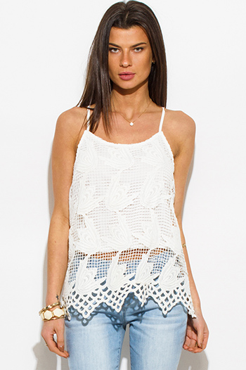 $15 - Cute cheap ivory white textured chiffon laceup tie front cap sleeve boho blouse top  - ivory white crochet lace scallop hem boho blouse tank top