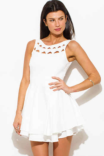 $20 - Cute cheap print skater dress - ivory white cut out sleeveless tiered open back a line skater mini dress