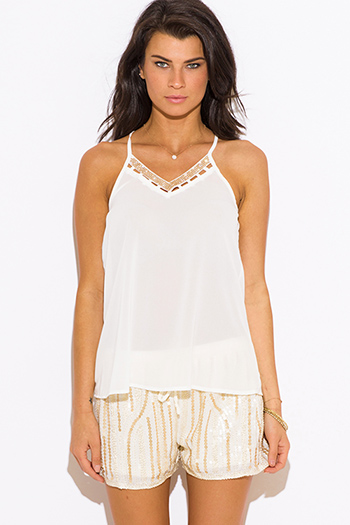$15 - Cute cheap cut out sides banded waisted tank top - ivory white cut out v neck bejeweled racer back sexy party tank top