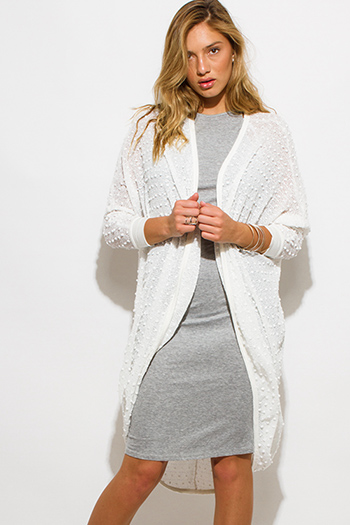$20 - Cute cheap clothes - ivory white embellished dolman sleeve boho duster cardigan sweater top