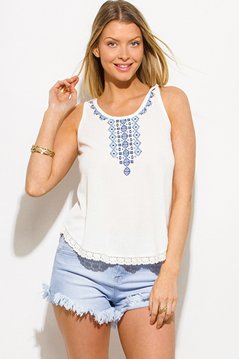 $10 - Cute cheap ivory white cream faux fur textured hooded pocketed zip up vest top - ivory white embroidered laceup caged back boho peasant tank top