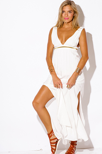 $25 - Cute cheap white evening sun dress - ivory white empire waist deep v neck low back double slit evening sexy party boho maxi dress