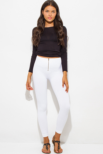 $15 - Cute cheap fitted leggings - ivory white fleece lined golden zipper fitted high waisted leggings