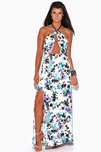 $30 - Cute cheap bright white ruched deep v high slit evening maxi dress 99450 - ivory white floral print cut out high slit rope halter wrap neck backless evening sexy party maxi sun dress