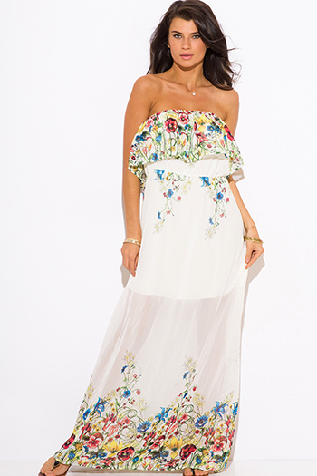 $20 - Cute cheap summer dress - ivory white floral print ruffle boho strapless maxi sun dress