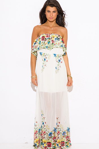$20 - Cute cheap sundress - ivory white floral print ruffle boho strapless maxi sun dress