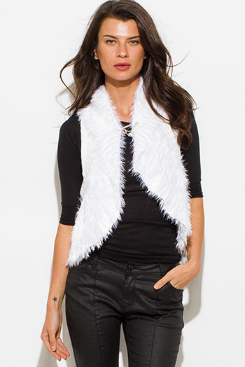 $15 - Cute cheap black heather gray color block hooded fringe trim faux leatherclasp sweater knit poncho tunic top - ivory white fuzzy faux fur contrast ribbed sweater knit racer back vest top