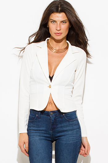 $20 - Cute cheap white fitted blazer - ivory white golden button fitted long sleeve high low hem tuxedo blazer jacket