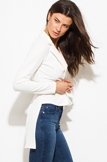 $12 - Cute cheap fitted shorts - ivory white golden button fitted long sleeve high low hem tuxedo blazer jacket
