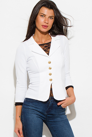 $20 - Cute cheap white jacket - ivory white golden button quarter sleeve fitted blazer jacket top