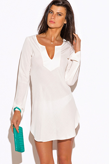 $20 - Cute cheap ivory white bodysuit cross back spaghetti strap sheer mesh overlay beach cover up midi dress - ivory white Indian collar boho beach cover up tunic top mini dress