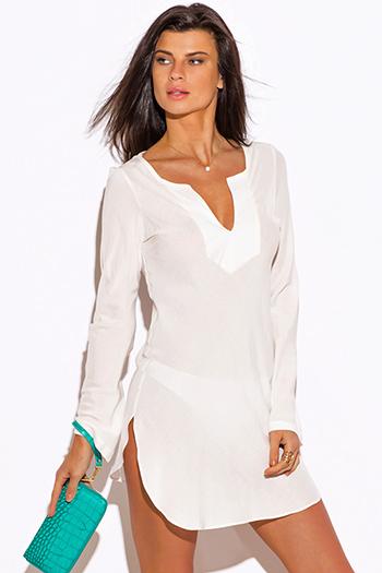 $20 - Cute cheap white lace formal dress - ivory white Indian collar boho beach cover up tunic top mini dress