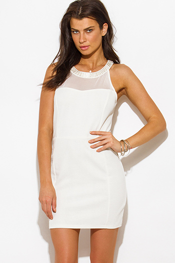 $10 - Cute cheap summer dress - ivory white jacquard bejeweled mesh panel fitted bodycon pencil cocktail sexy party mini dress