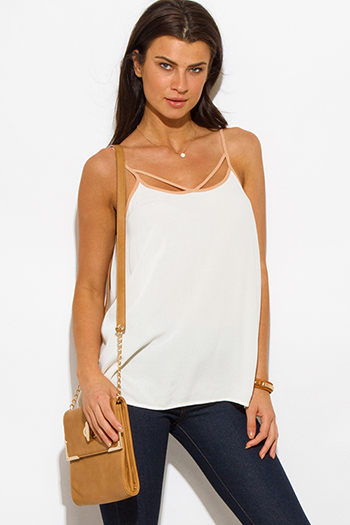 $10 - Cute cheap ivory white rayon gauze spaghetti strap babydoll boho tank top - ivory white khaki beige cut out caged tank top