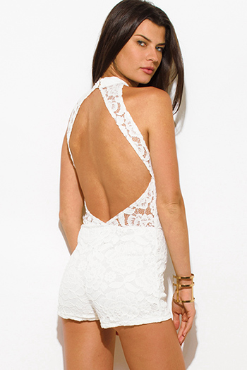 $15 - Cute cheap white ribbed fitted sweater - ivory white lace overlay high neck bodycon fitted cut out backless romper playsuit jumpsuit