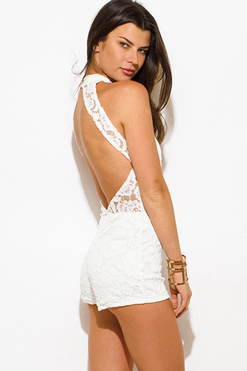 $15 - Cute cheap cotton lace fitted bodysuit - ivory white lace overlay high neck bodycon fitted cut out backless romper playsuit jumpsuit