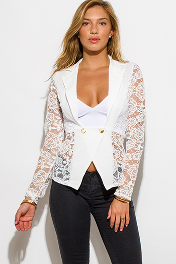 $20 - Cute cheap white lace blazer - ivory white lace sleeve double breasted golden button blazer top