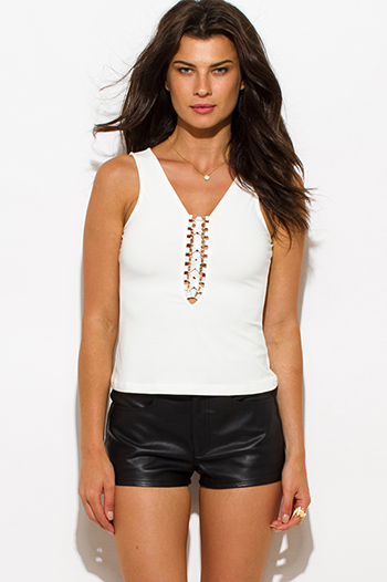 $10 - Cute cheap white sexy party top - ivory white laceup sleeveless bodycon party tank top