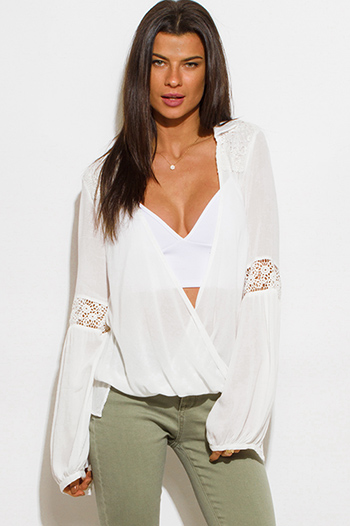 $15 - Cute cheap black sheer mesh deep v neck crochet lace trim drawstring hem blouson long sleeve crop blouse top - ivory white long blouson sleeve crochet trim wrap front boho chiffon blouse top