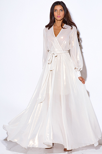 $65 - Cute cheap white sexy party dress - ivory white metallic chiffon blouson sleeve faux wrap formal evening party boho maxi dress