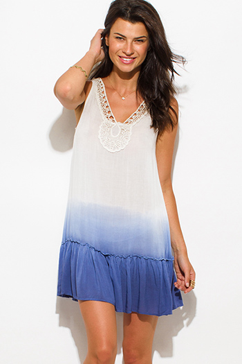 $15 - Cute cheap backless boho bell sleeve mini dress - ivory white navy blue chiffon ombre print crochet trim ruffle hem sleeveless boho mini sun dress
