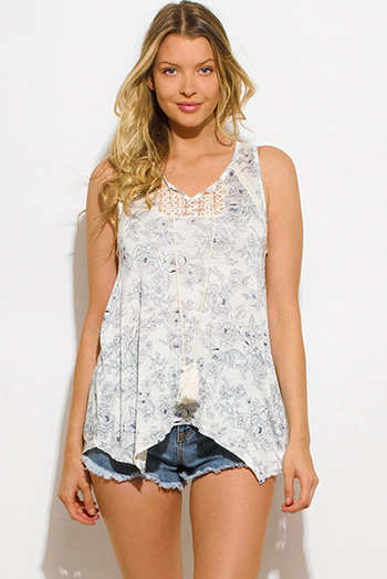 $10 - Cute cheap ivory white navy blue floral print crochet panel tassel high low hem boho tank top