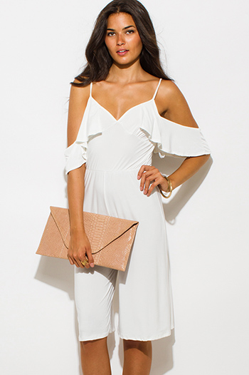 $20 - Cute cheap sexy party jumpsuit - ivory white off shoulder bustier v neck flutter sleeve wide leg evening party playsuit jumpsuit