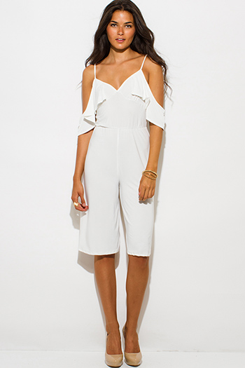 $12 - Cute cheap white low v neck animal print wide leg 2fer evening sexy party jumpsuit - ivory white off shoulder bustier v neck flutter sleeve wide leg evening party playsuit jumpsuit