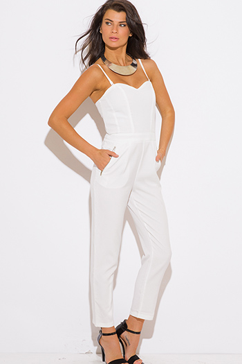 $15 - Cute cheap jumpsuit - ivory white pocketed evening sexy party jumpsuit