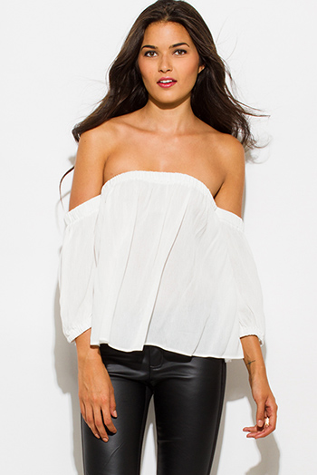 $15 - Cute cheap ivory white rayon gauze off shoulder quarter sleeve boho blouse top