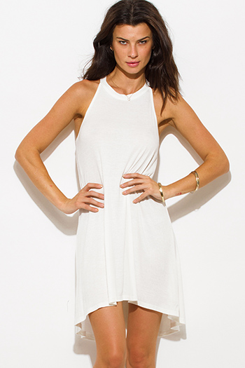 $15 - Cute cheap pure white beige pocketed bubble hem suspender mini skirt 96257 - ivory white ribbed knit sleeveless halter keyhole racer back tunic top mini dress