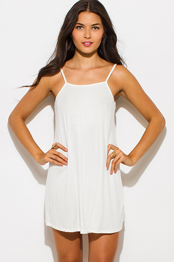 $15 - Cute cheap white one shoulder dress - ivory white ribbed knit spaghetti strap open back sexy party mini dress