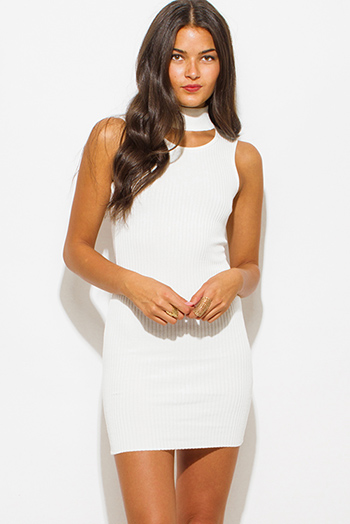 $25 - Cute cheap white lace backless dress - ivory white ribbed knit turtleneck cut out fitted bodycon sexy club mini dress