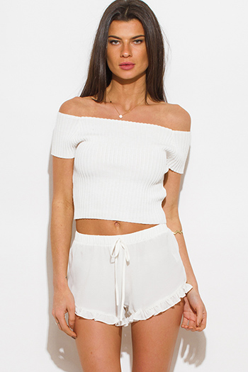 $10 - Cute cheap ivory white textured chiffon laceup tie front cap sleeve boho blouse top  - ivory white ruffle hem tie front boho summer shorts