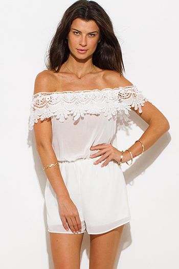 $20 - Cute cheap boho crochet jumpsuit - ivory white semi sheer chiffon off shoulder scallop crochet trim boho romper playsuit jumpsuit