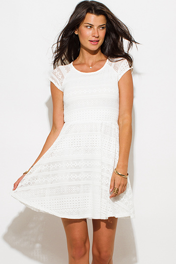 $25 - Cute cheap skater dress - ivory white semi sheer lace cap sleeve fitted a line skater mini dress