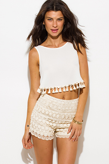 $15 - Cute cheap boho open back top - ivory white sequin tassel embellished sleeveless backless tie boho crop top